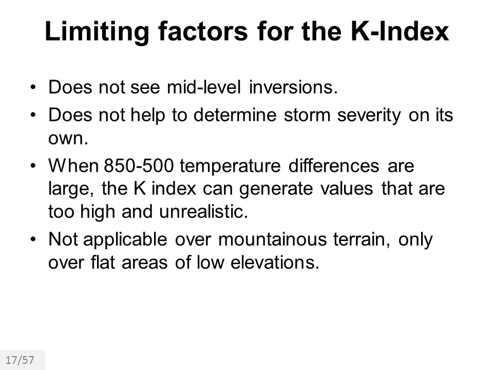 Limiting factors for the K-Index
