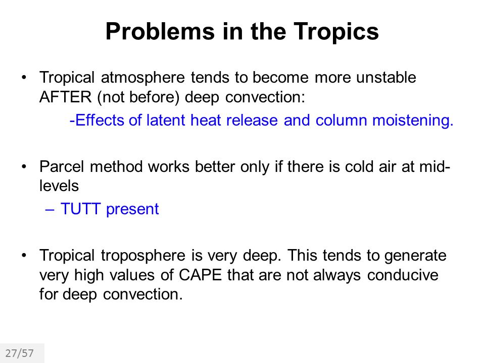Problems in the Tropics