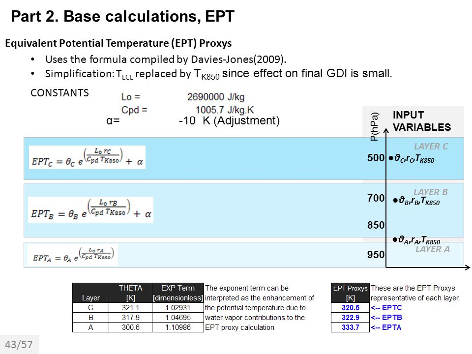 Part 2. Base calculations, EPT