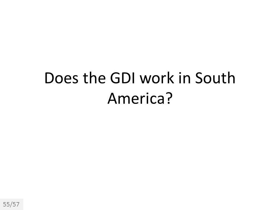 Does the GDI work in South America