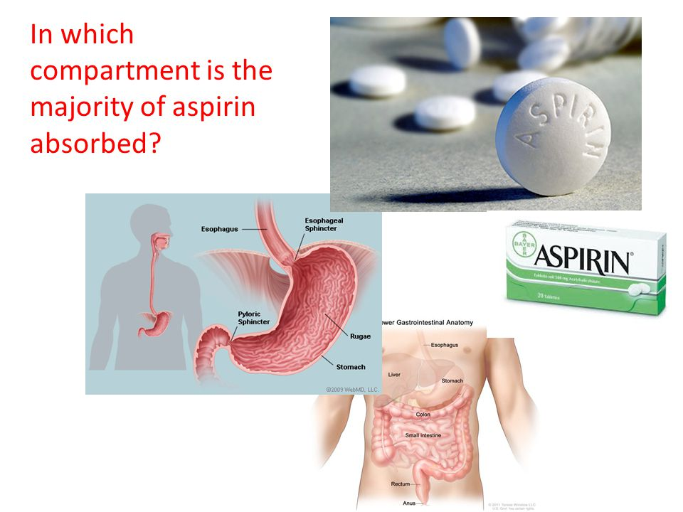 In which compartment is the majority of aspirin absorbed