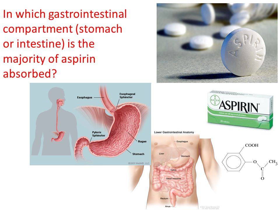 In which gastrointestinal compartment (stomach or intestine) is the majority of aspirin absorbed