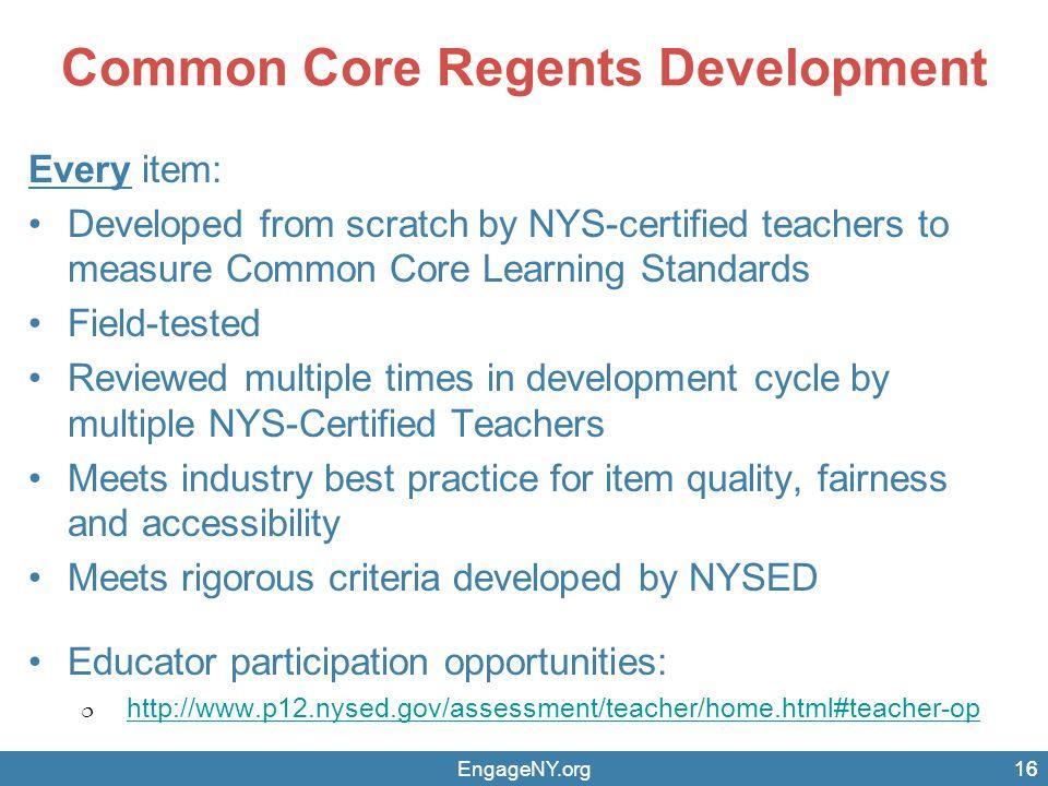 Common Core Regents Development
