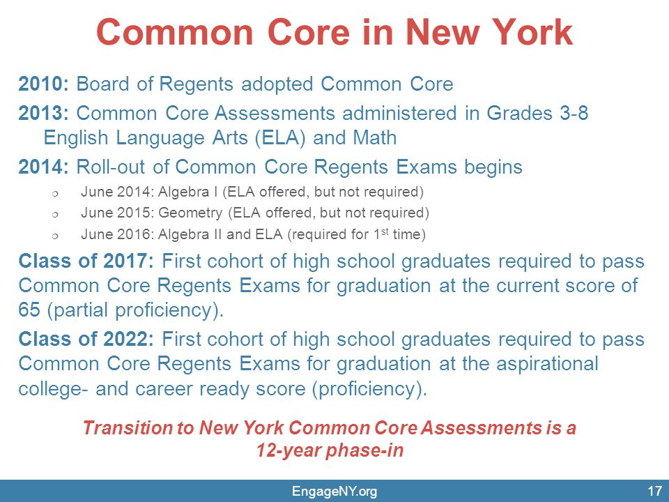 Transition to New York Common Core Assessments is a 12-year phase-in