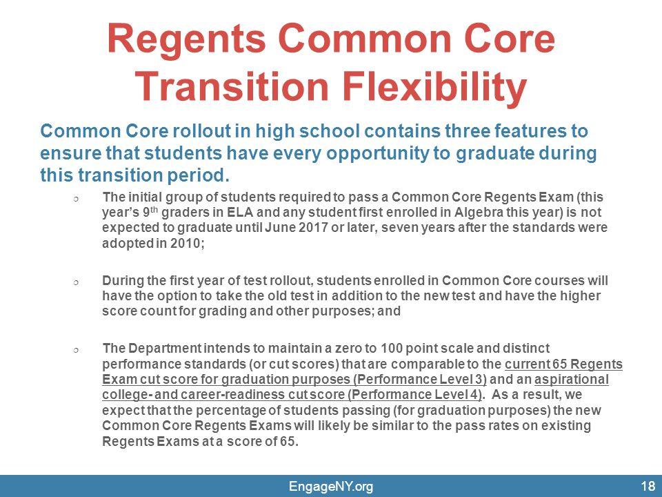 Regents Common Core Transition Flexibility