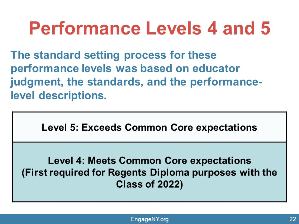 Performance Levels 4 and 5