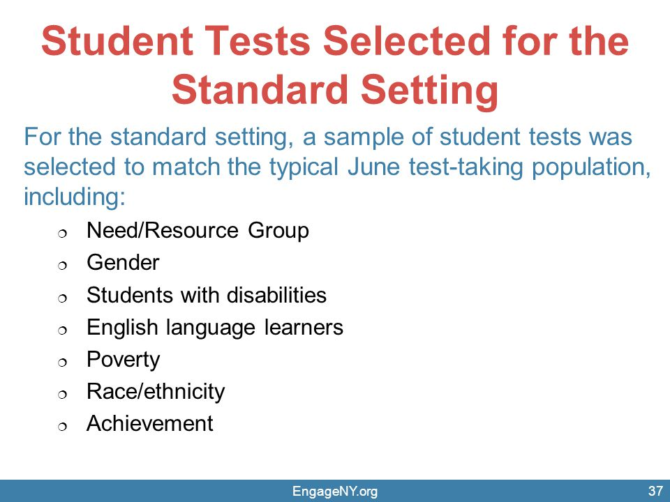 Student Tests Selected for the Standard Setting