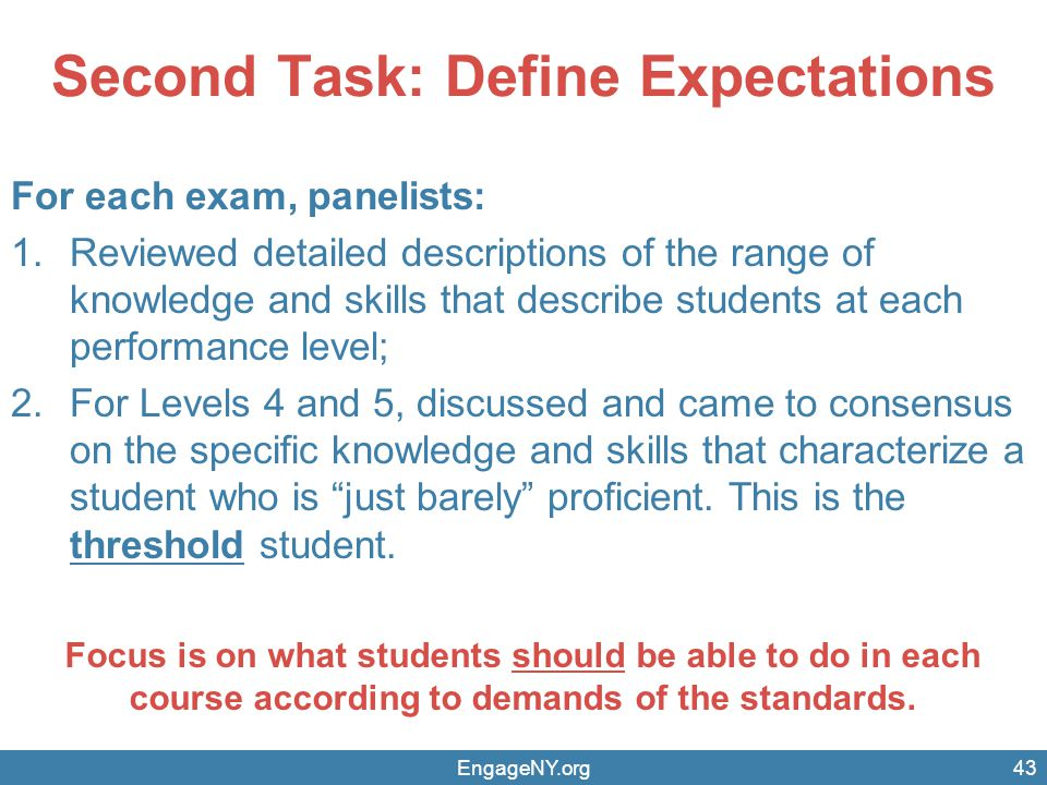 Second Task: Define Expectations
