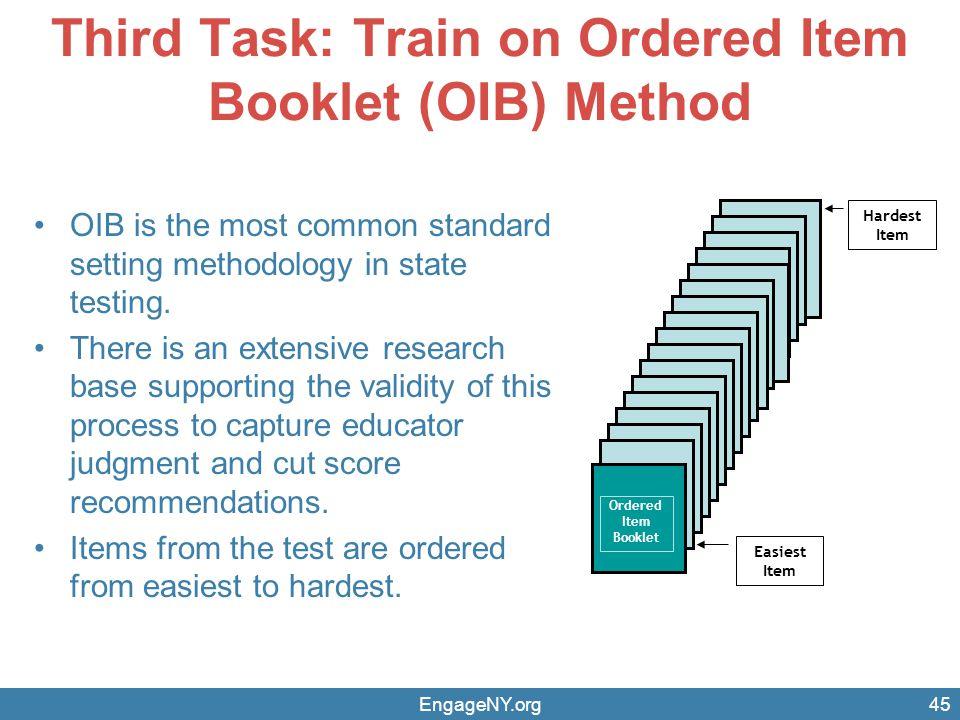 Third Task: Train on Ordered Item Booklet (OIB) Method