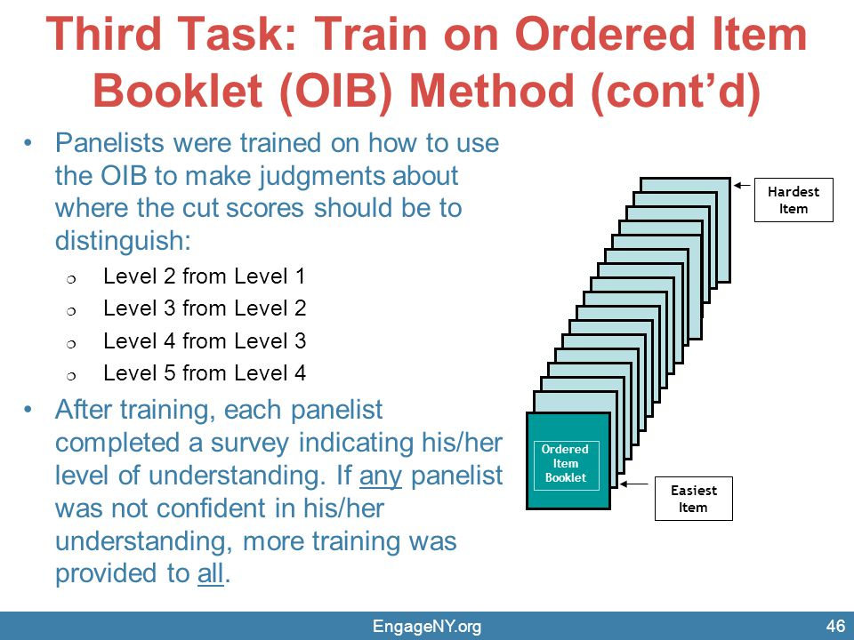Third Task: Train on Ordered Item Booklet (OIB) Method (cont'd)