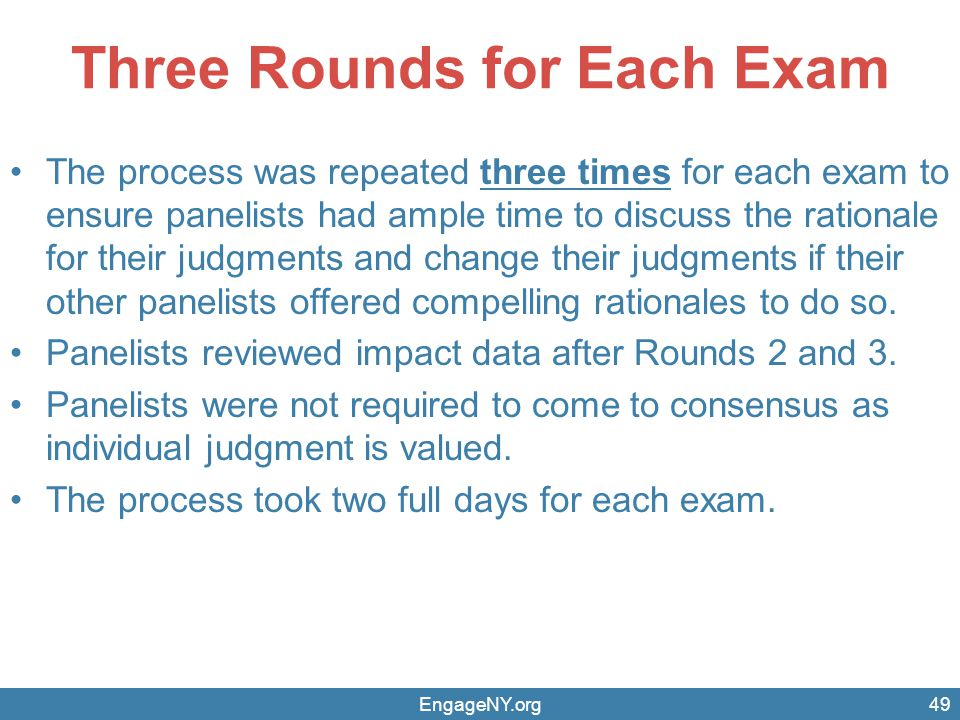 Three Rounds for Each Exam