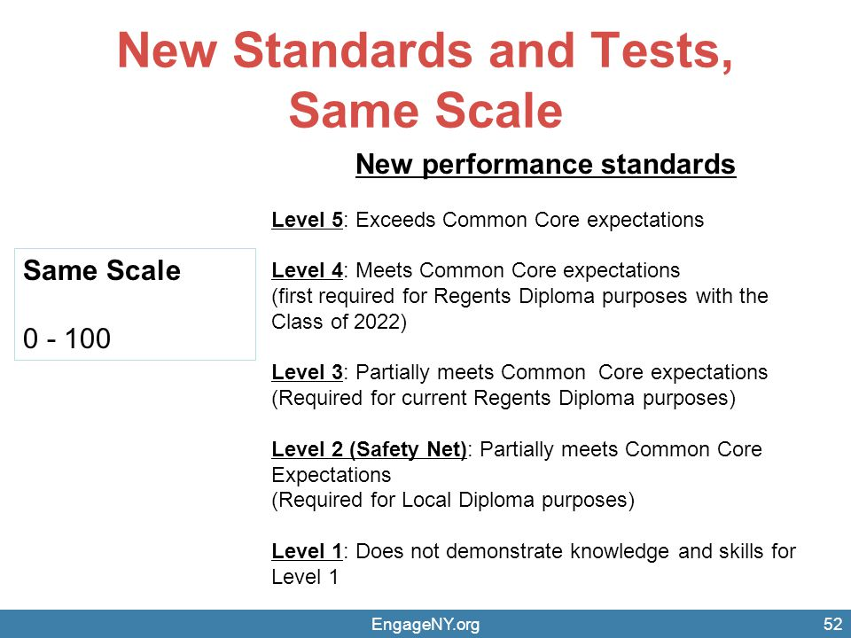 New Standards and Tests, Same Scale