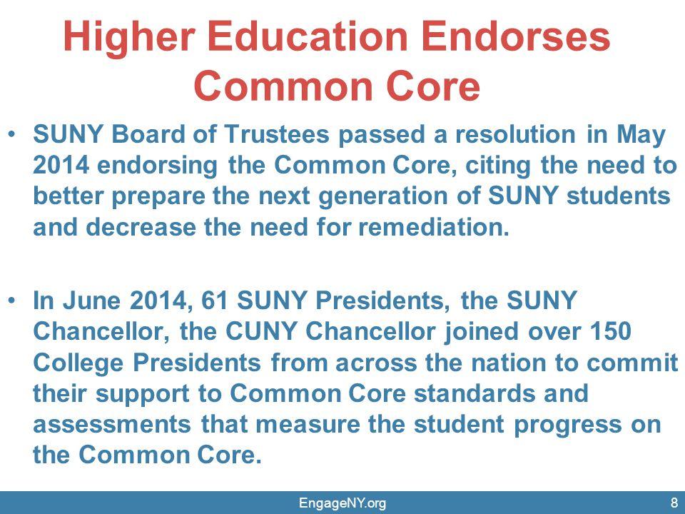Higher Education Endorses Common Core