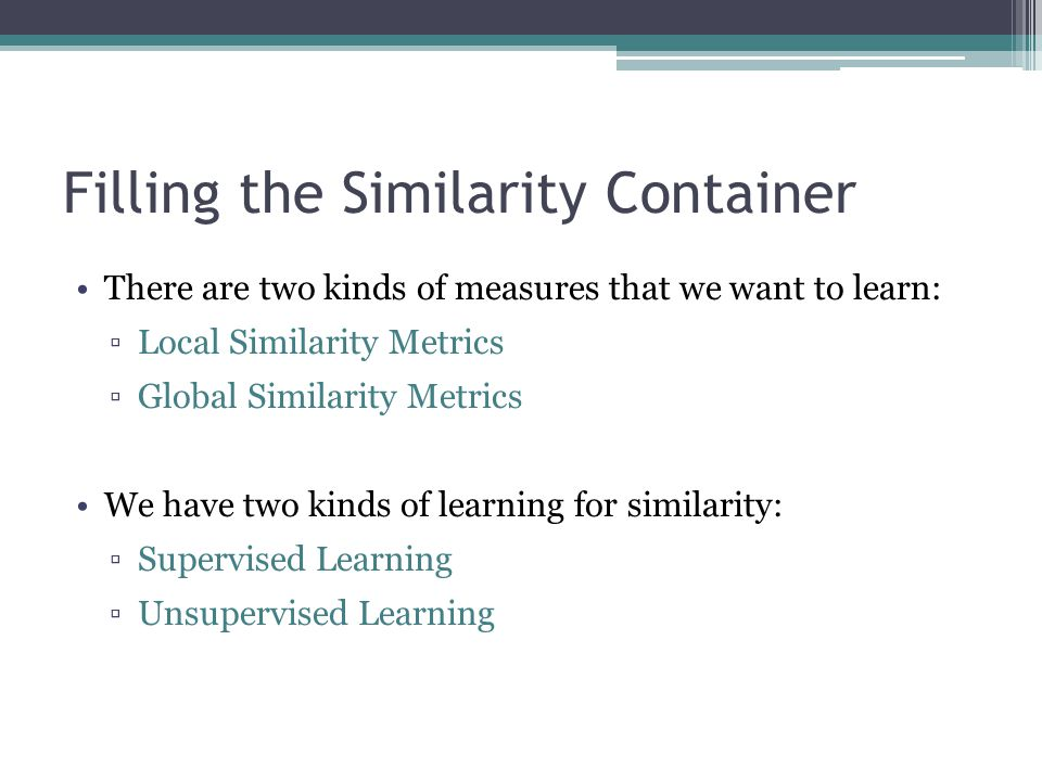 Filling the Similarity Container