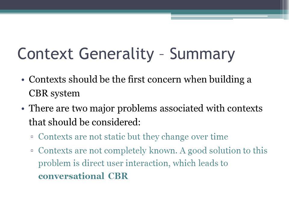 Context Generality – Summary