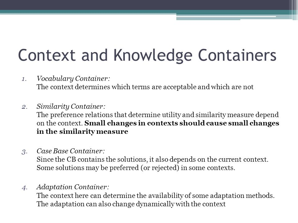 Context and Knowledge Containers