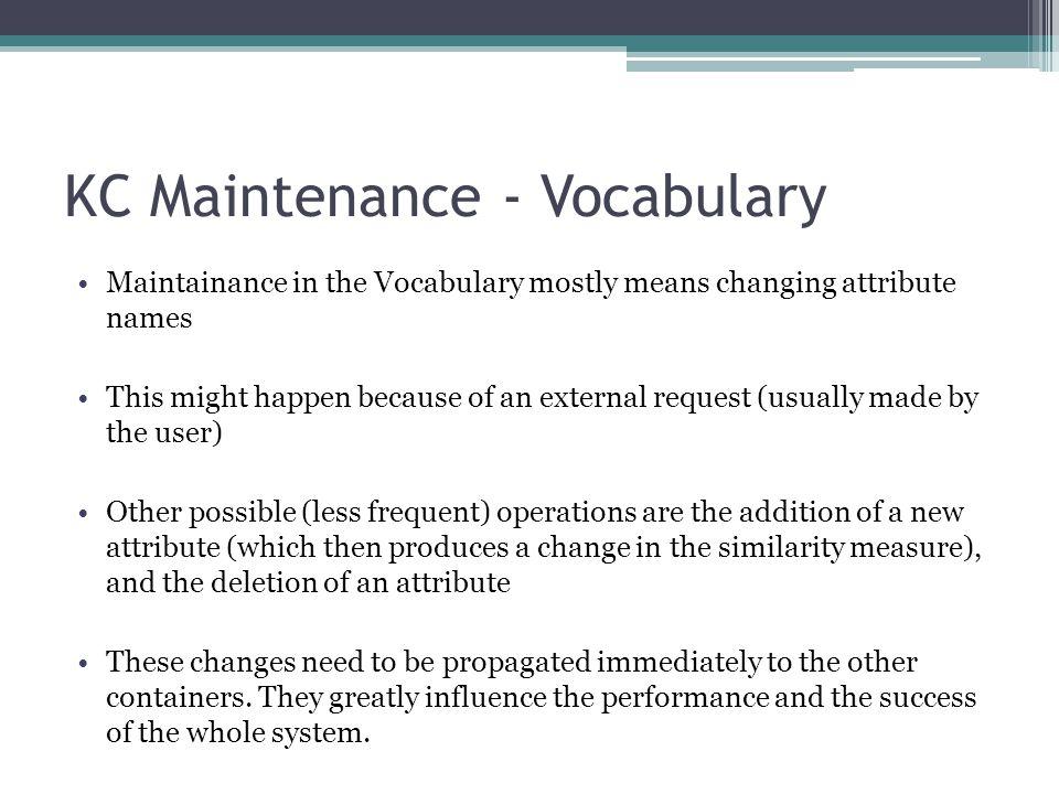 KC Maintenance - Vocabulary