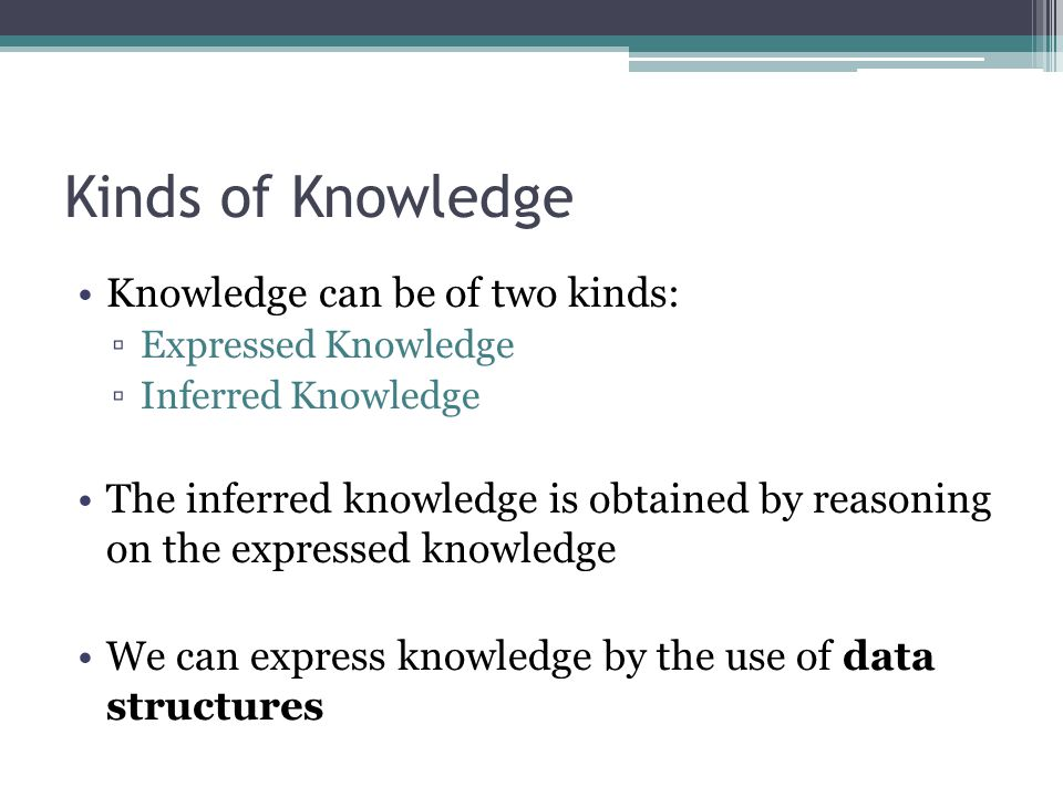 Kinds of Knowledge Knowledge can be of two kinds: