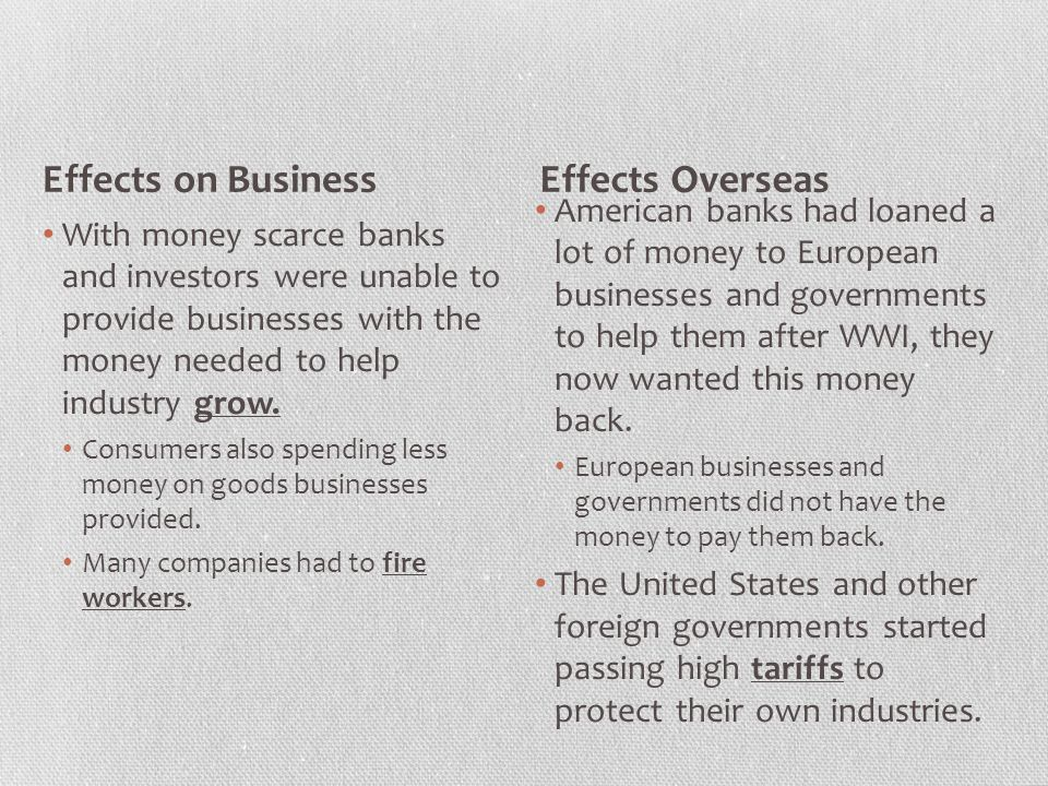 Effects on Business Effects Overseas