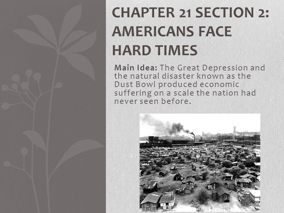 Chapter 21 Section 2: Americans Face Hard Times