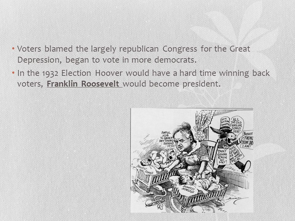 Voters blamed the largely republican Congress for the Great Depression, began to vote in more democrats.