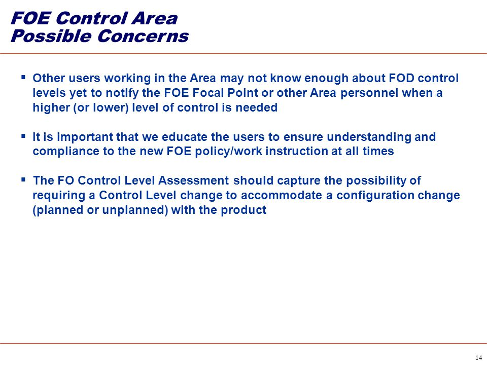 FOE Control Area Possible Concerns