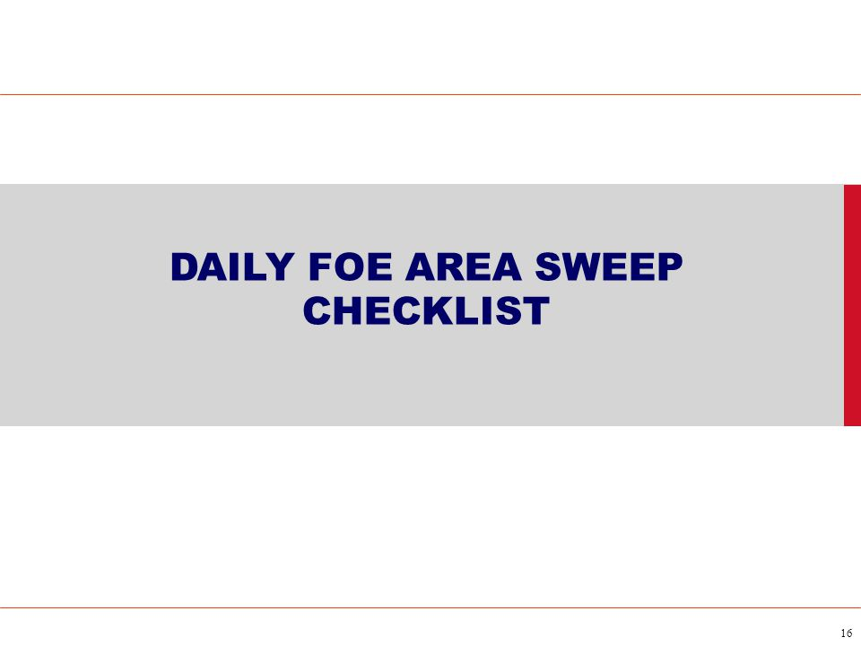 DAILY FOE AREA SWEEP CHECKLIST