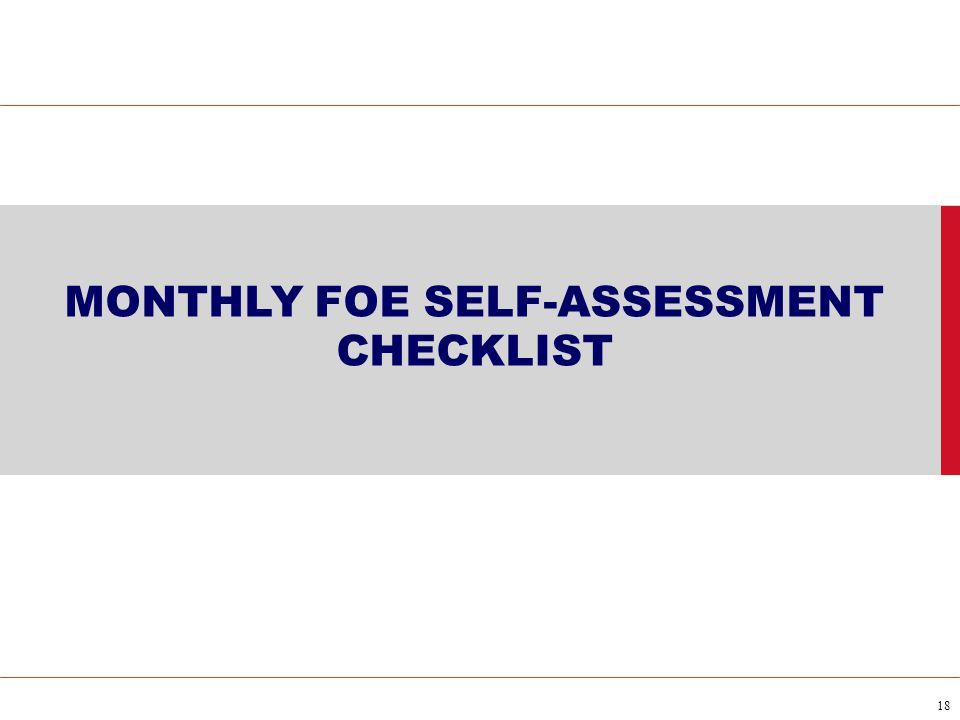 MONTHLY FOE SELF-ASSESSMENT CHECKLIST