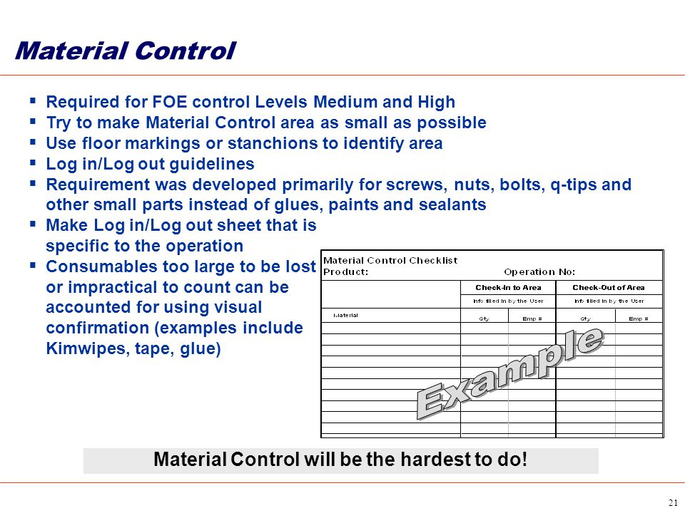 Material Control will be the hardest to do!