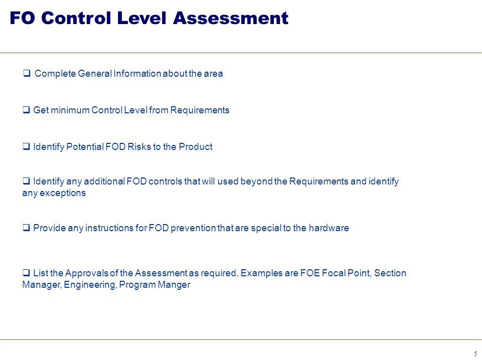 FO Control Level Assessment