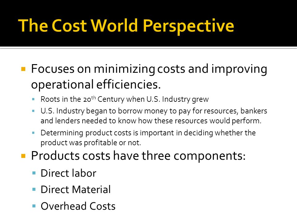 The Cost World Perspective