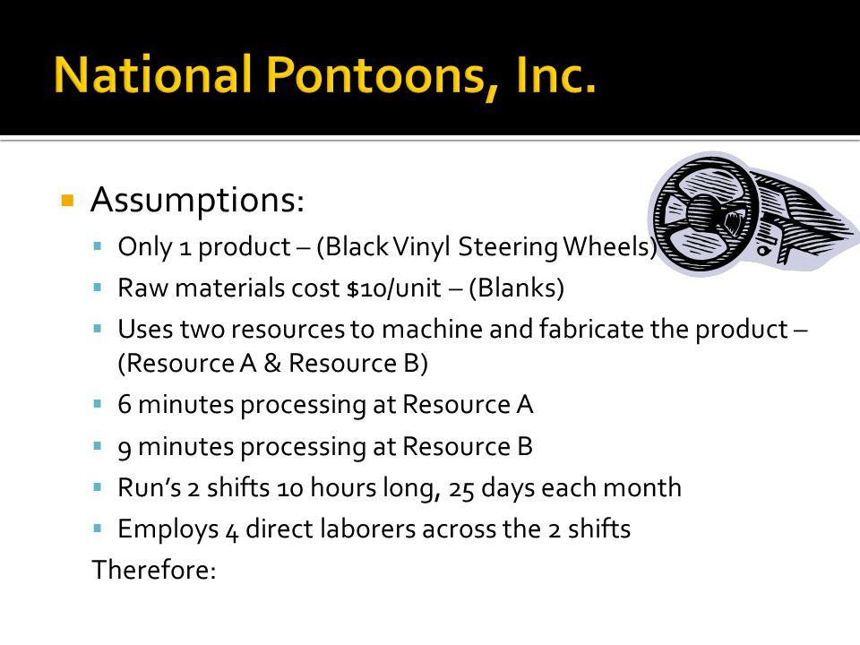 National Pontoons, Inc. Assumptions: