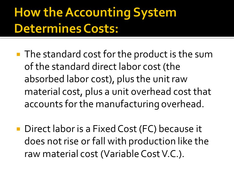 How the Accounting System Determines Costs: