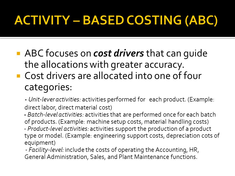 ACTIVITY – BASED COSTING (ABC)