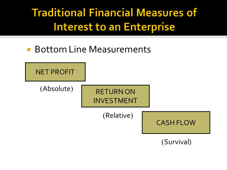 Traditional Financial Measures of Interest to an Enterprise