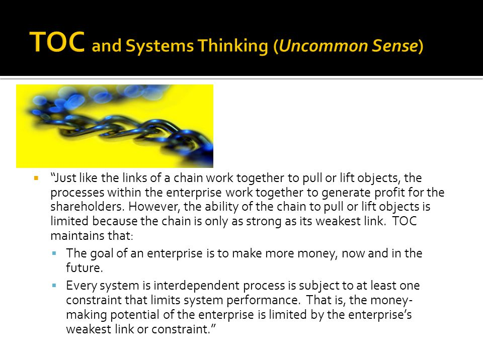 TOC and Systems Thinking (Uncommon Sense)