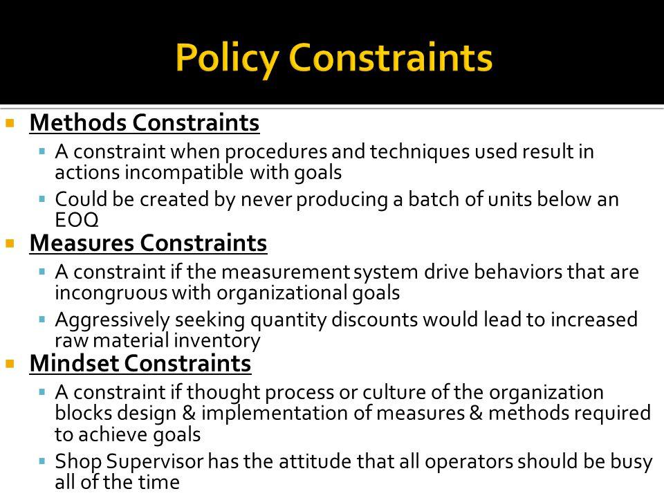 Policy Constraints Methods Constraints Measures Constraints