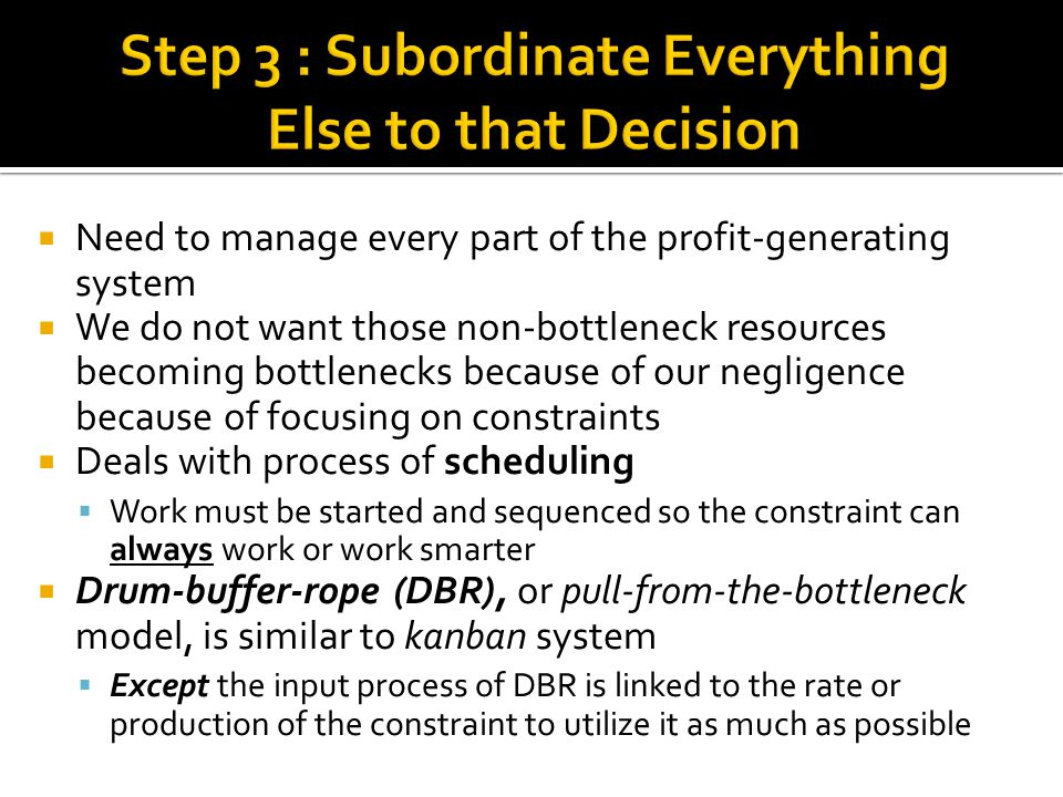 Step 3 : Subordinate Everything Else to that Decision