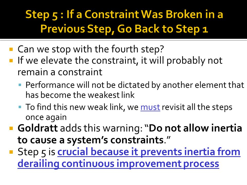 Step 5 : If a Constraint Was Broken in a Previous Step, Go Back to Step 1