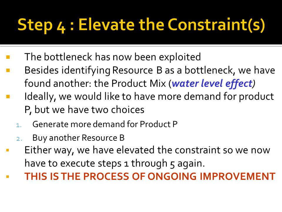 Step 4 : Elevate the Constraint(s)