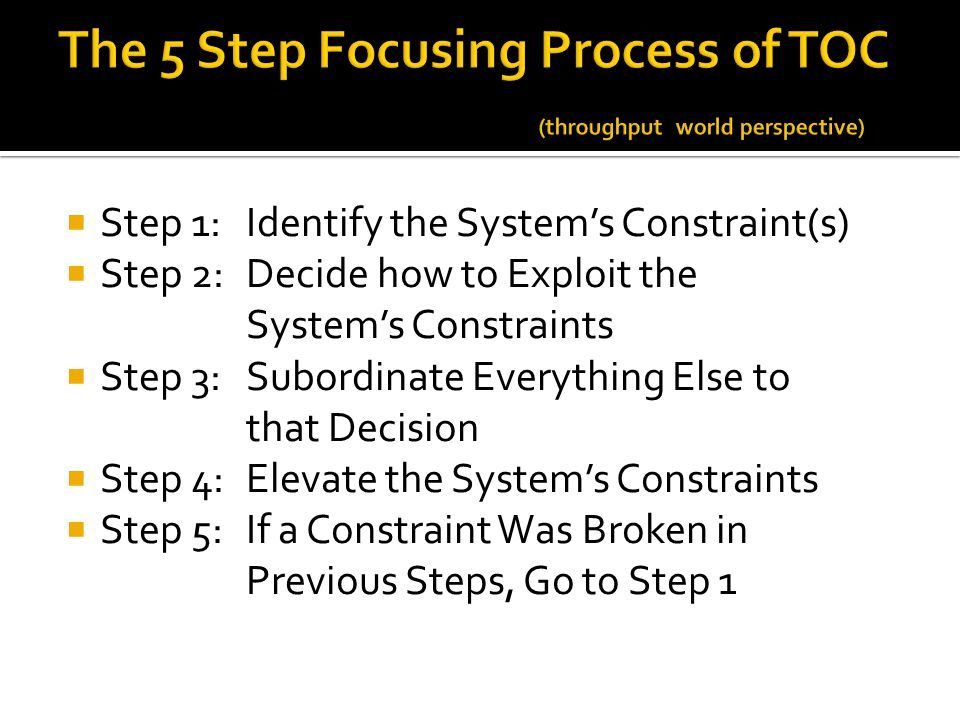 The 5 Step Focusing Process of TOC (throughput world perspective)