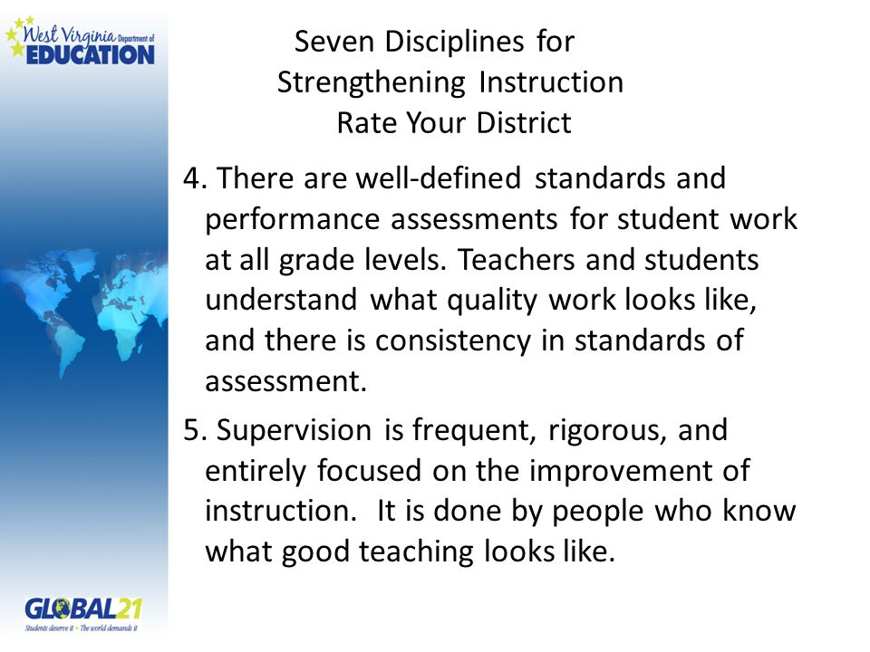 Seven Disciplines for Strengthening Instruction Rate Your District