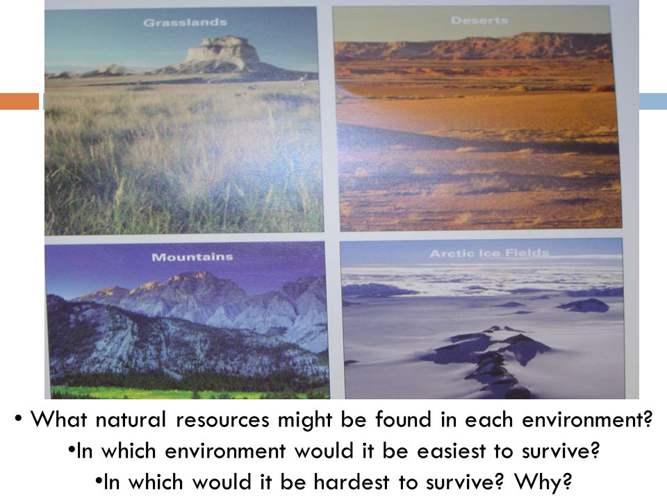 What natural resources might be found in each environment