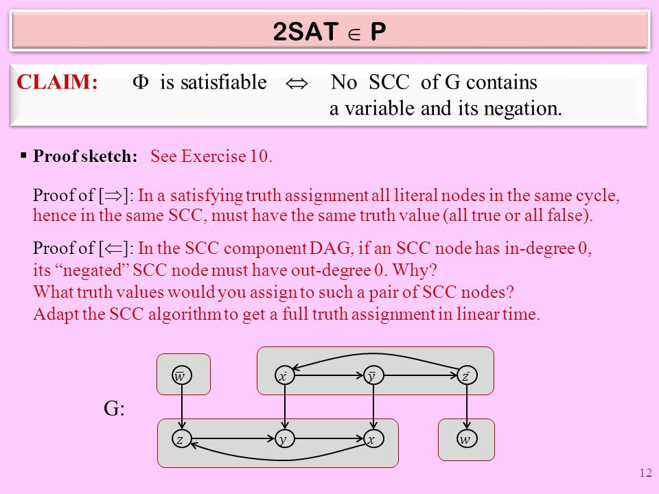 2SAT  P CLAIM: F is satisfiable  No SCC of G contains a variable and its negation.