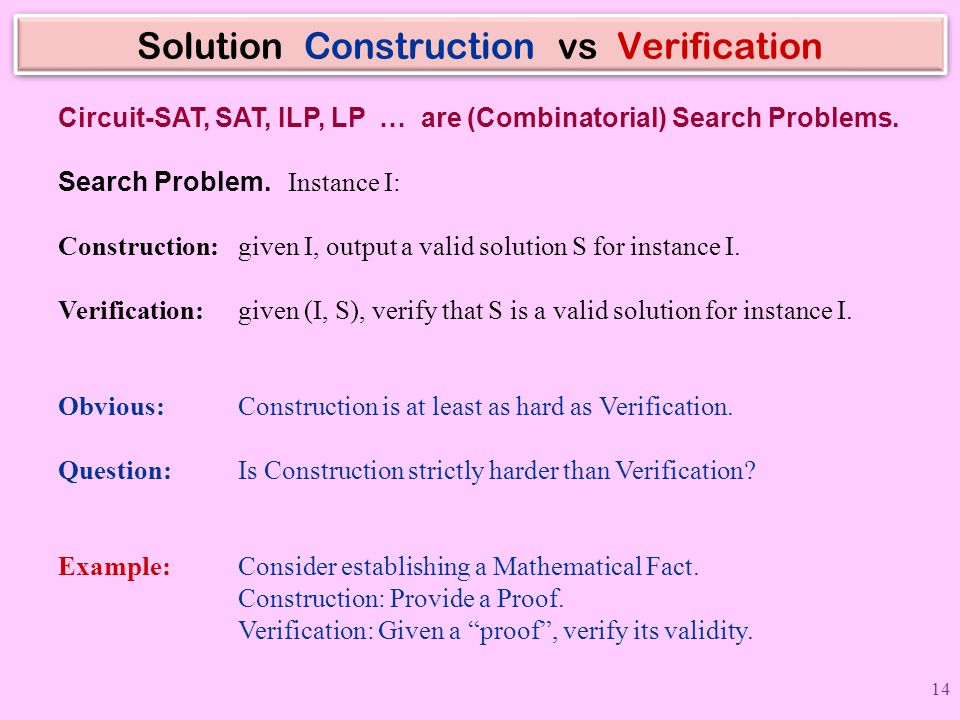 Solution Construction vs Verification