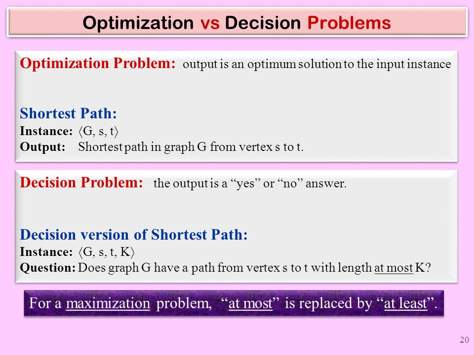 Optimization vs Decision Problems