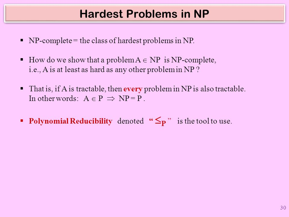 Hardest Problems in NP NP-complete = the class of hardest problems in NP.