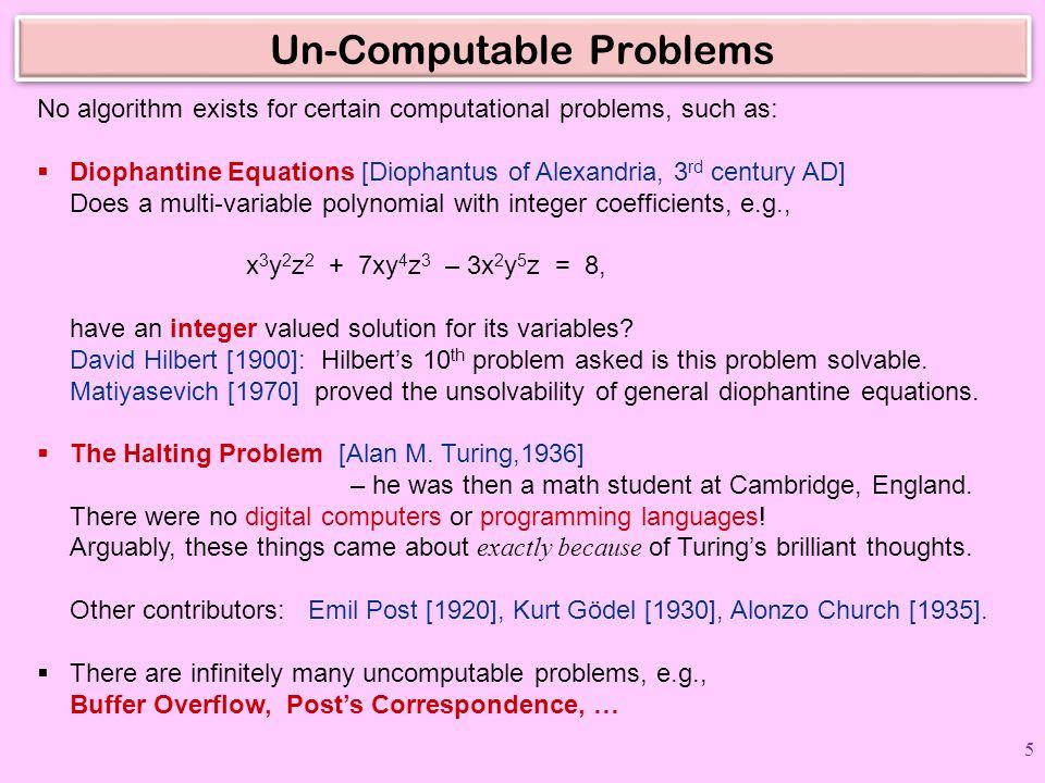 Un-Computable Problems
