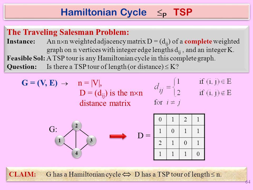 Hamiltonian Cycle P TSP
