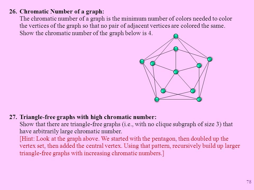 Chromatic Number of a graph: The chromatic number of a graph is the minimum number of colors needed to color the vertices of the graph so that no pair of adjacent vertices are colored the same. Show the chromatic number of the graph below is 4.